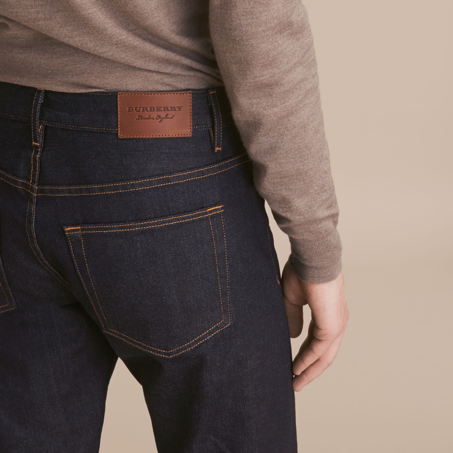 Relaxed Fit Comfort Stretch Indigo Japanese Denim Jeans in Dark - Men | Burberry - gallery image 6