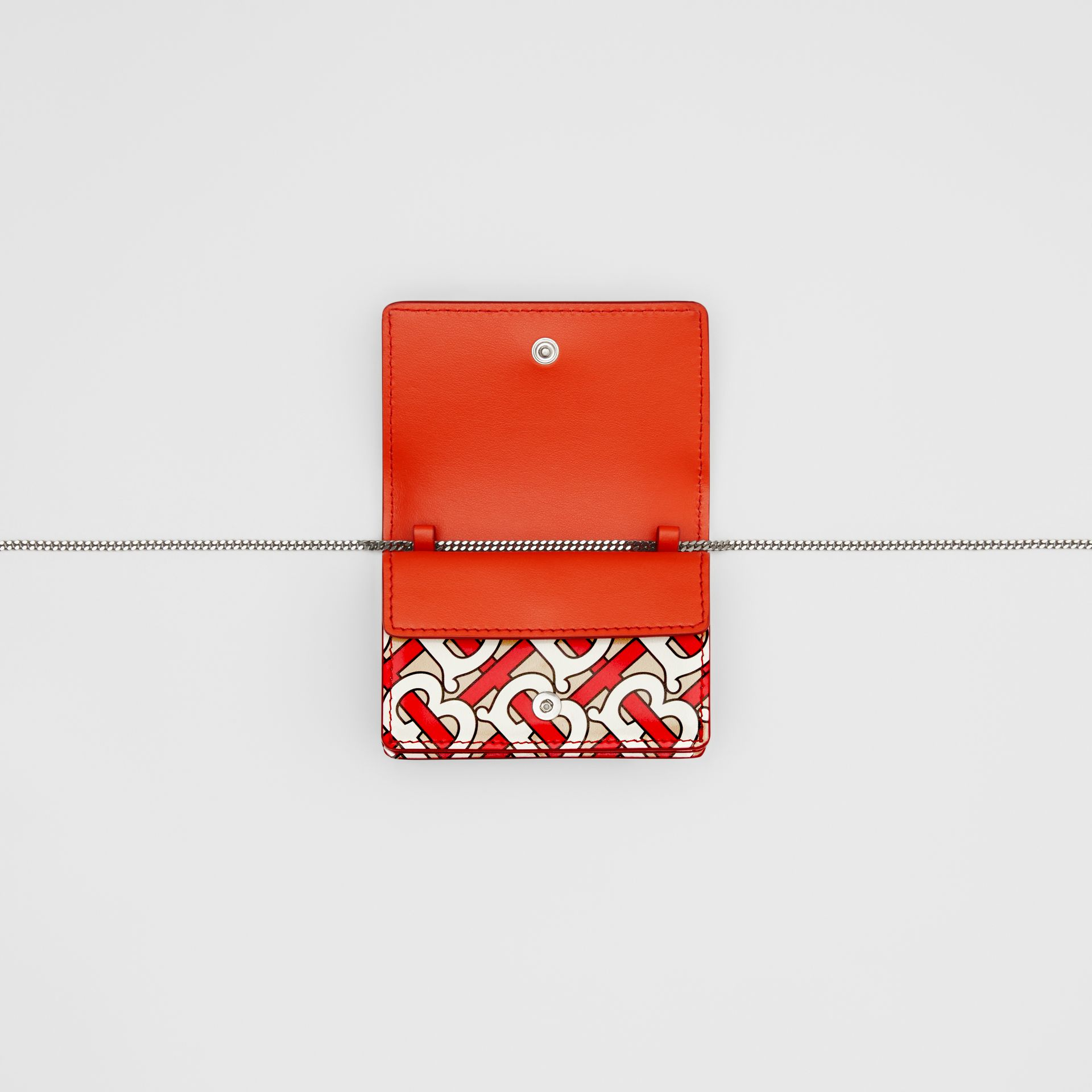 Monogram Print Card Case with Detachable Strap in Vermilion - Women | Burberry United Kingdom - gallery image 3