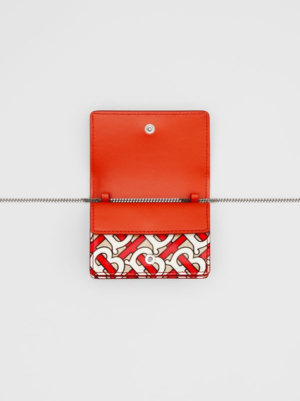 Monogram Print Card Case with Detachable Strap in Vermilion - Women | Burberry United Kingdom - cell image 3
