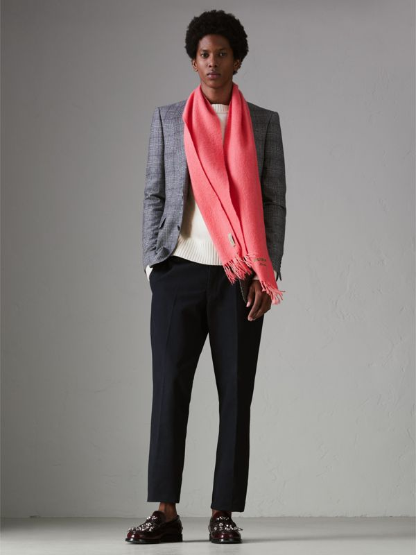 Embroidered Cashmere Fleece Scarf in Coral | Burberry - cell image 3
