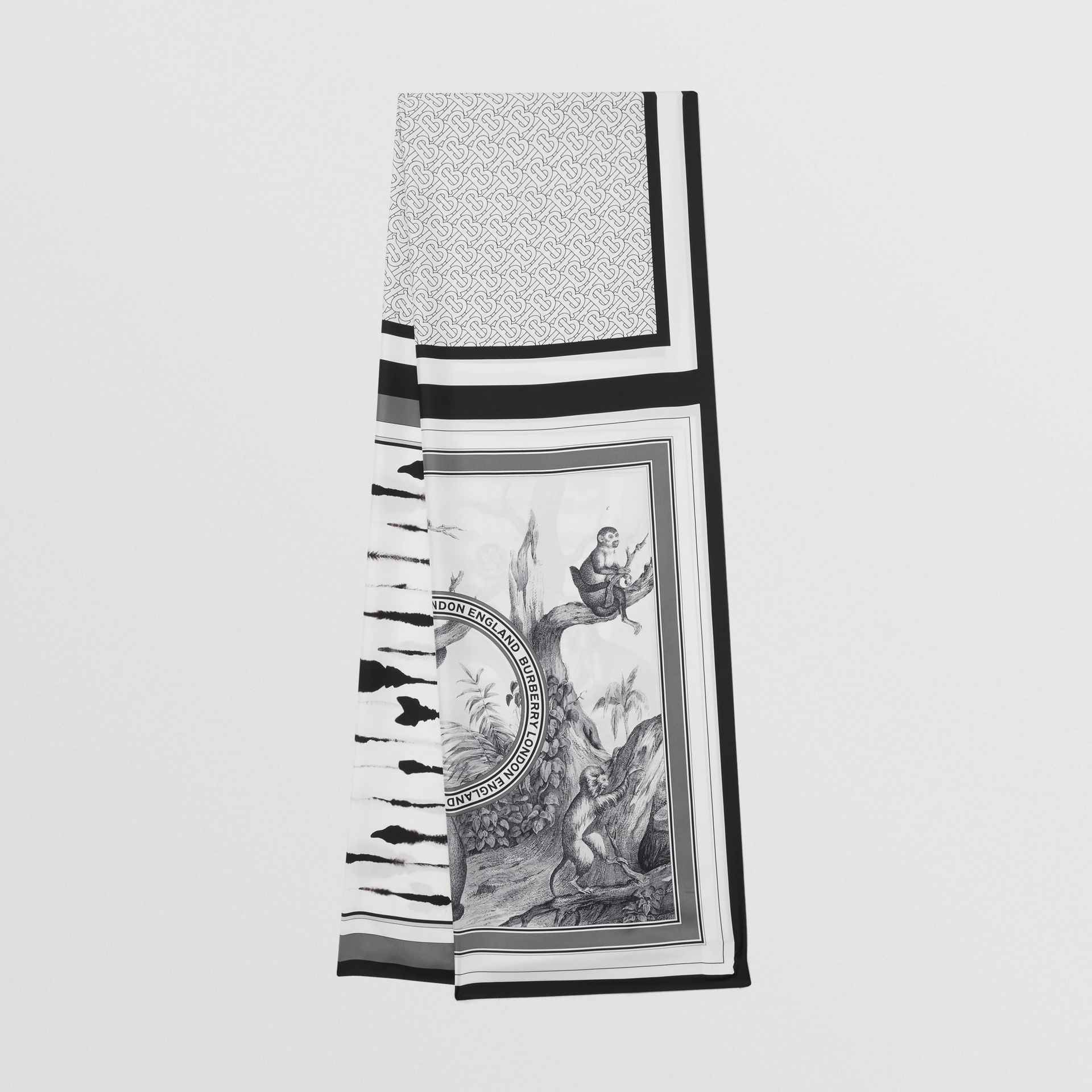 Montage Print Silk Scarf in Monochrome | Burberry - gallery image 0