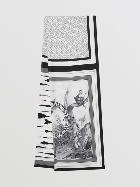 Montage Print Silk Scarf in Monochrome
