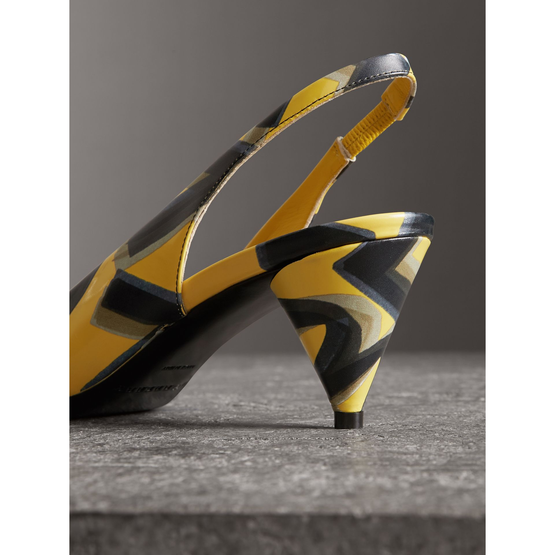 Graffiti Print Leather Slingback Pumps in Vibrant Yellow - Women | Burberry - gallery image 3