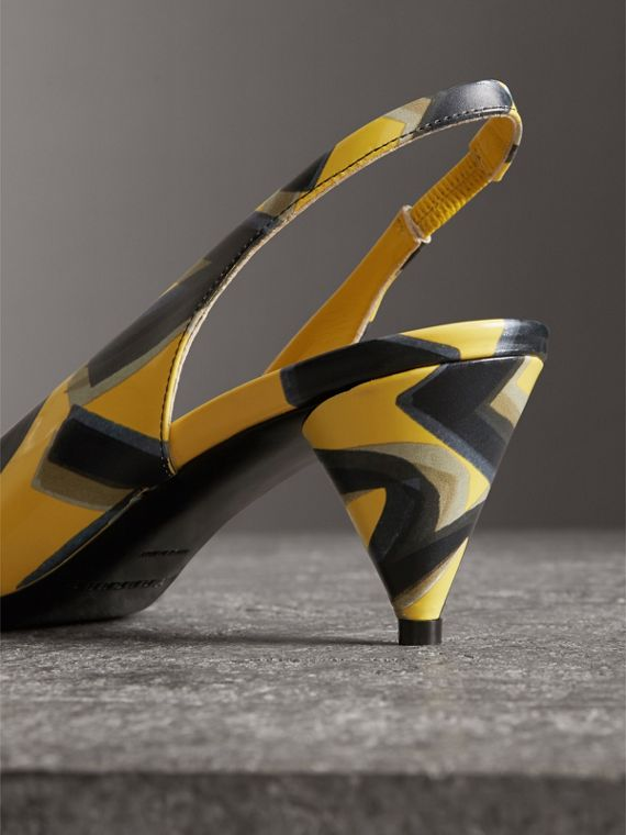 Graffiti Print Leather Slingback Pumps in Vibrant Yellow - Women | Burberry - cell image 3