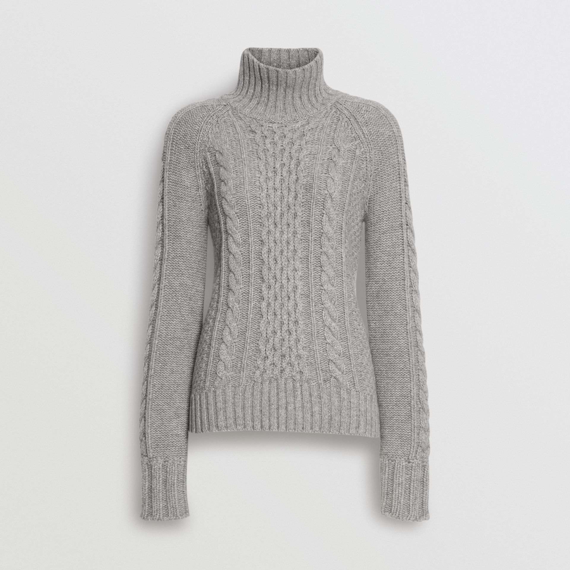 Cable Knit Cashmere Turtleneck Sweater in Mid Grey Melange - Women | Burberry Canada - gallery image 3