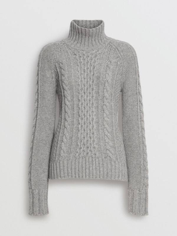 Cable Knit Cashmere Turtleneck Sweater in Mid Grey Melange - Women | Burberry - cell image 3