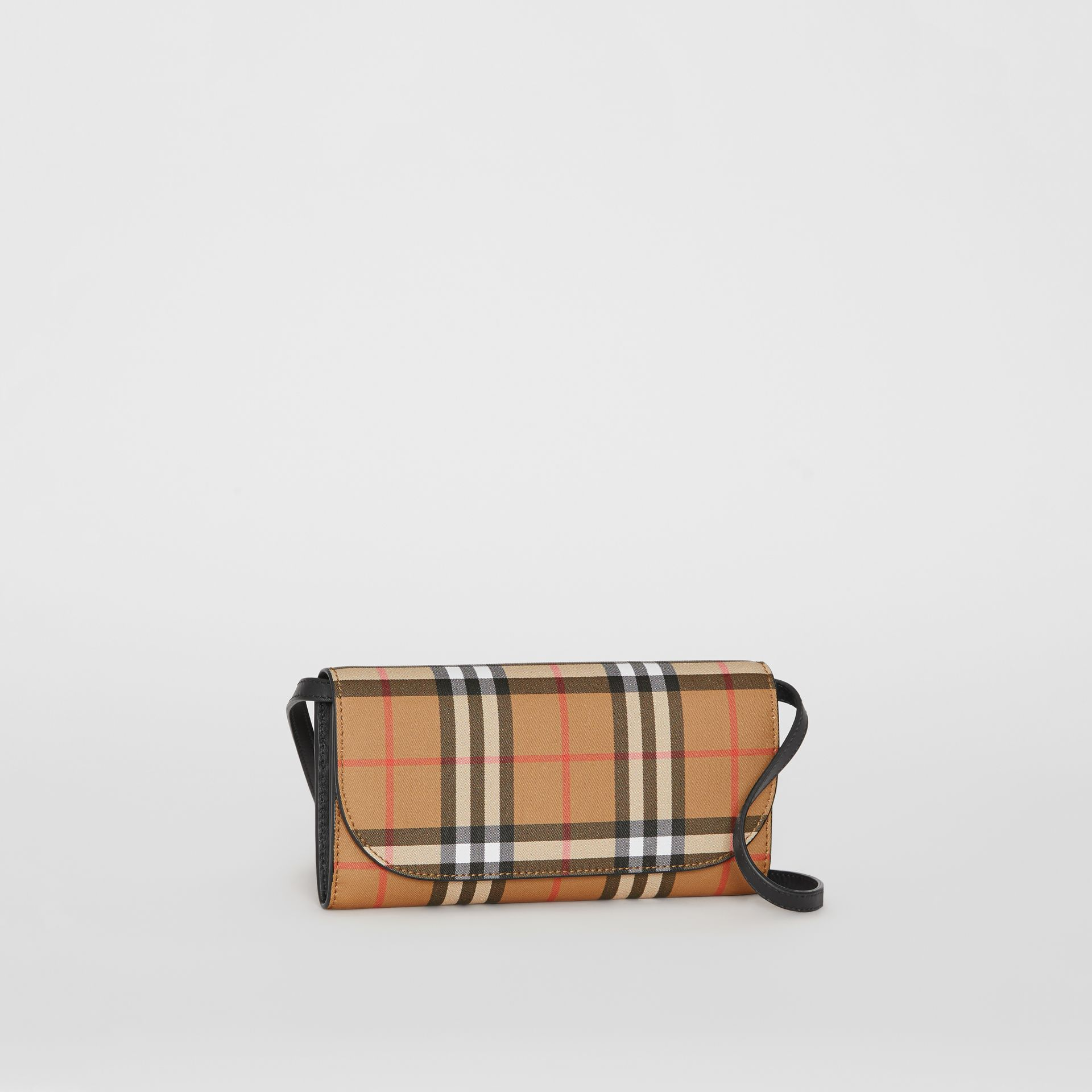 Detachable Strap Vintage Check Leather Wallet in Black - Women | Burberry - gallery image 6