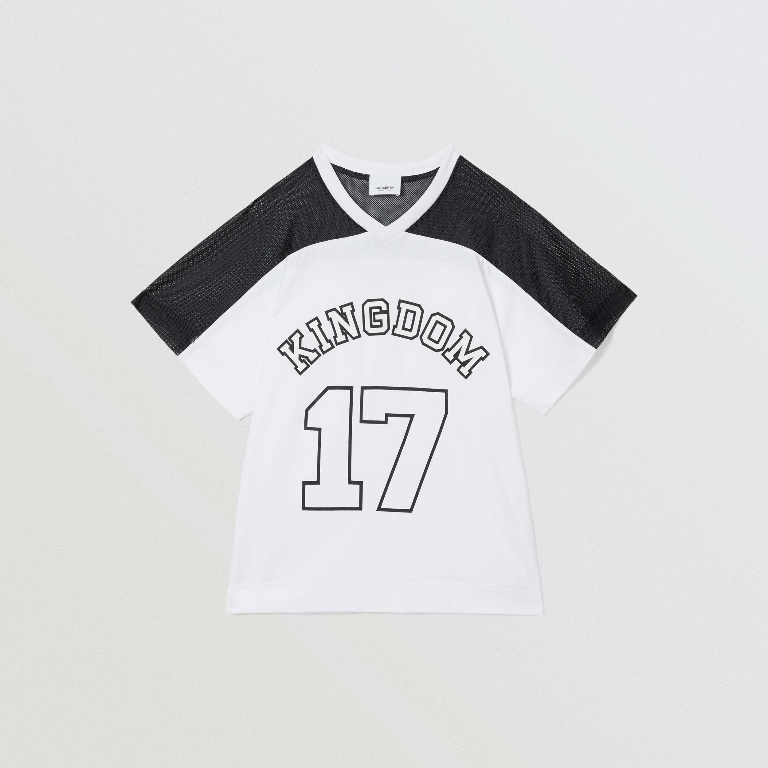 Mesh Panel Kingdom Print Cotton T-shirt in Black | Burberry - 1