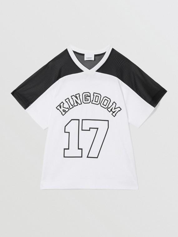 Mesh Panel Kingdom Print Cotton T-shirt in Black