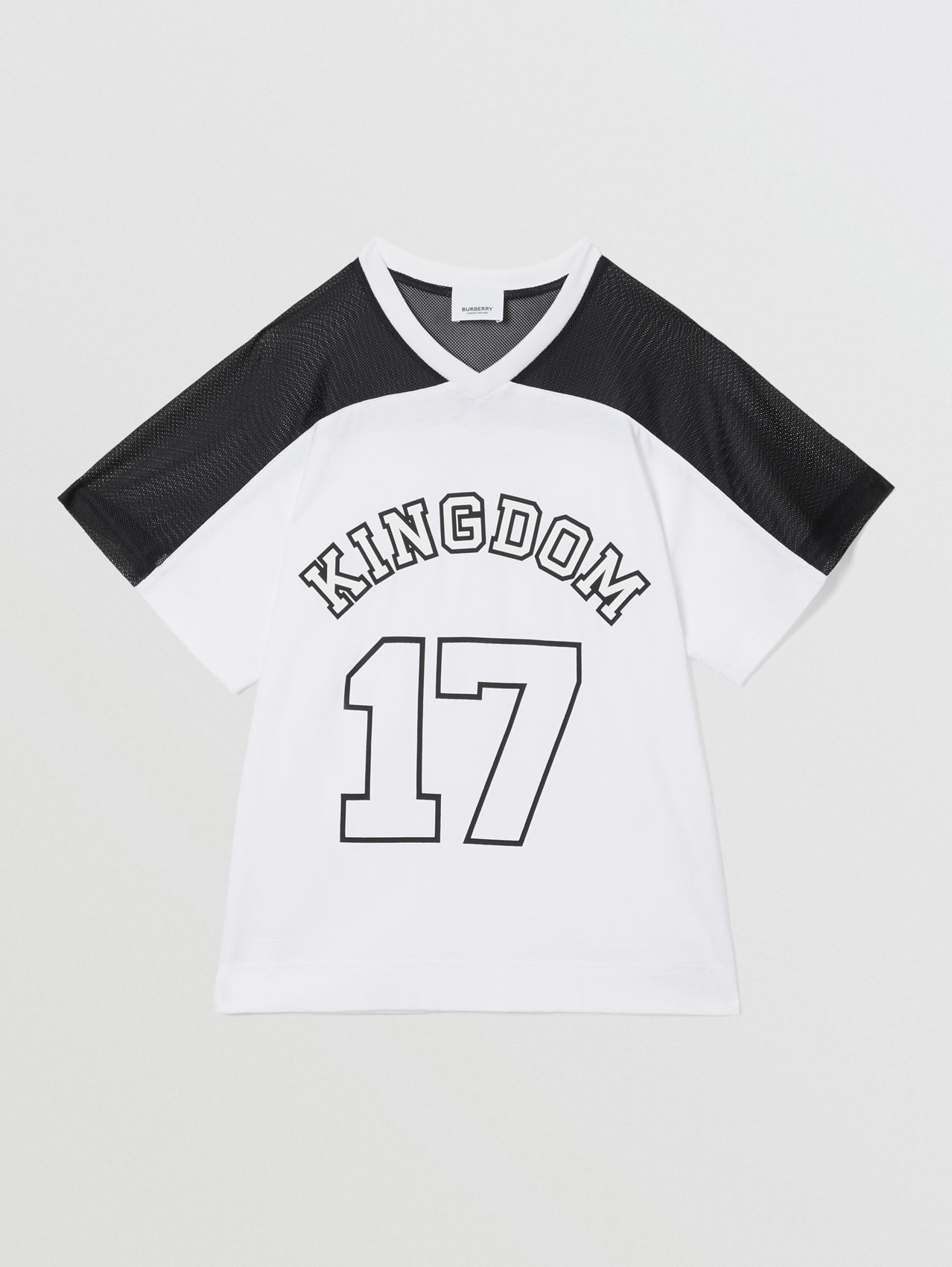 Mesh Panel Kingdom Print Cotton T-shirt (Black)