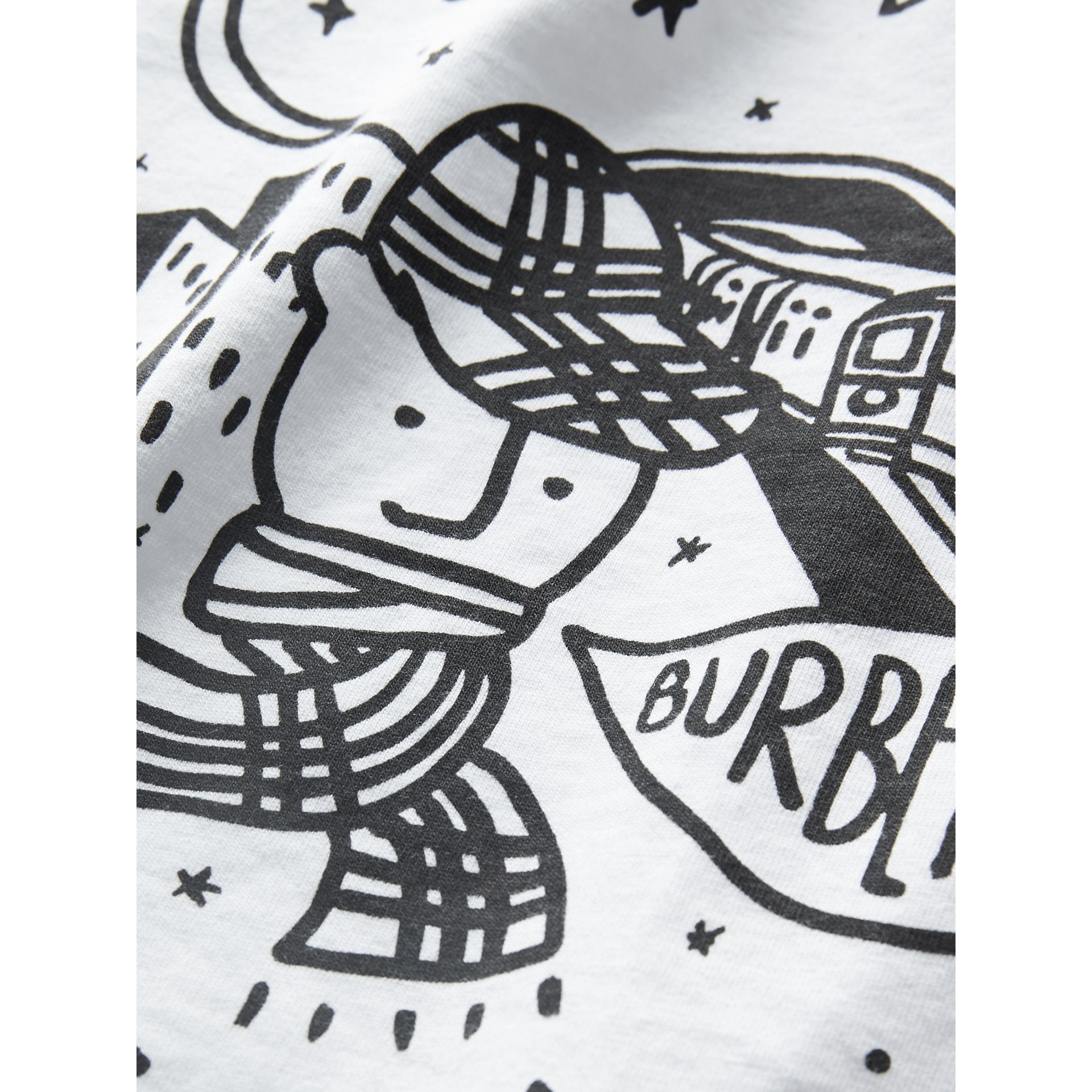 Night Print Cotton T-shirt in White | Burberry - gallery image 4