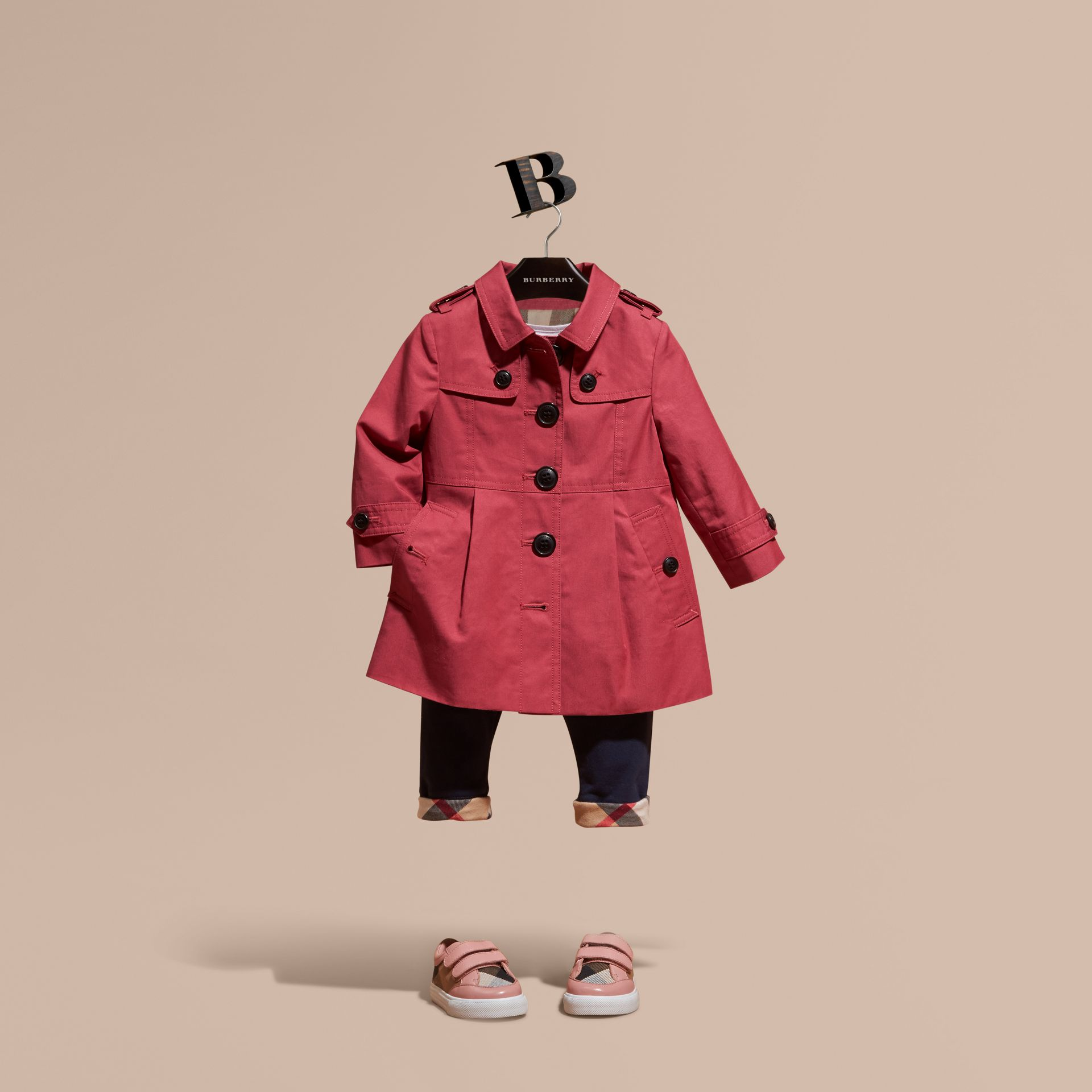 Peony rose Cotton Trench Coat - gallery image 1