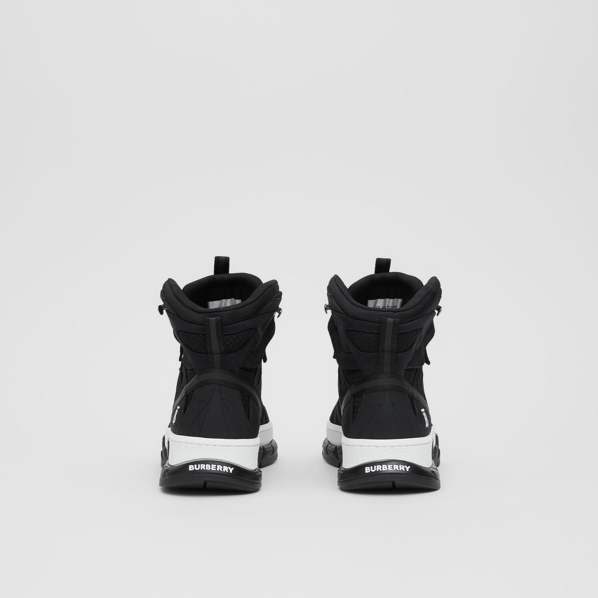 Mesh and Nubuck Union High-top Sneakers in Black - Men | Burberry Australia - gallery image 4