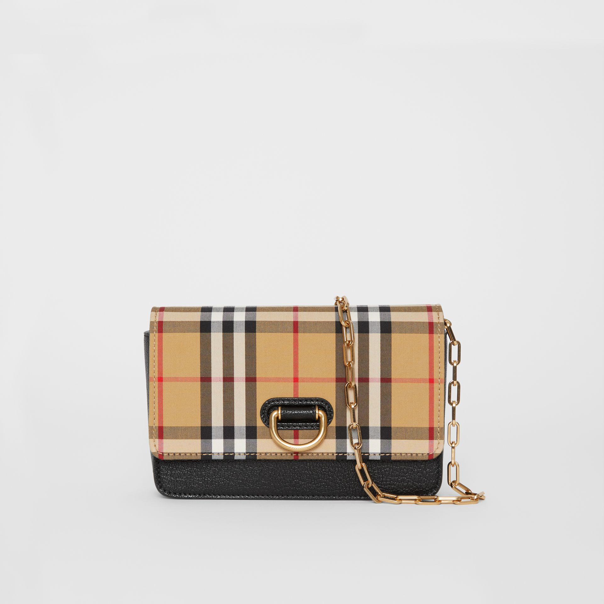 The Mini Vintage Check and Leather D-ring Bag in Black - Women | Burberry Australia - gallery image 0