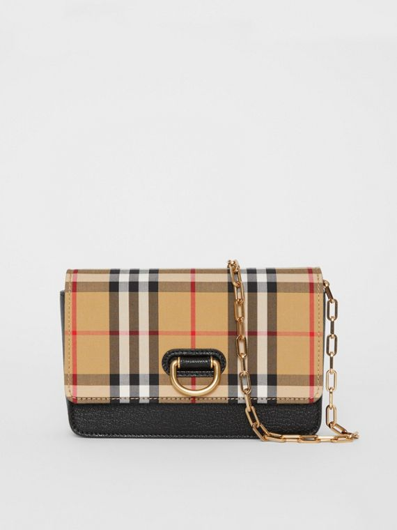 Borsa The D-ring mini in pelle con motivo Vintage check (Nero)
