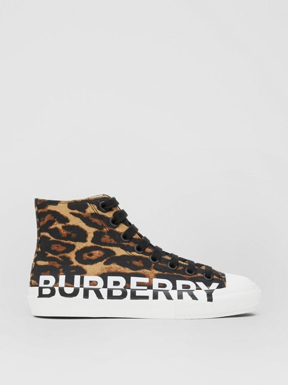 Logo Detail Leopard Print High-top Sneakers in Brown