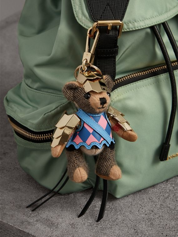 Thomas Bear Charm with Knight Armour Detail in Camel Check | Burberry Canada - cell image 2