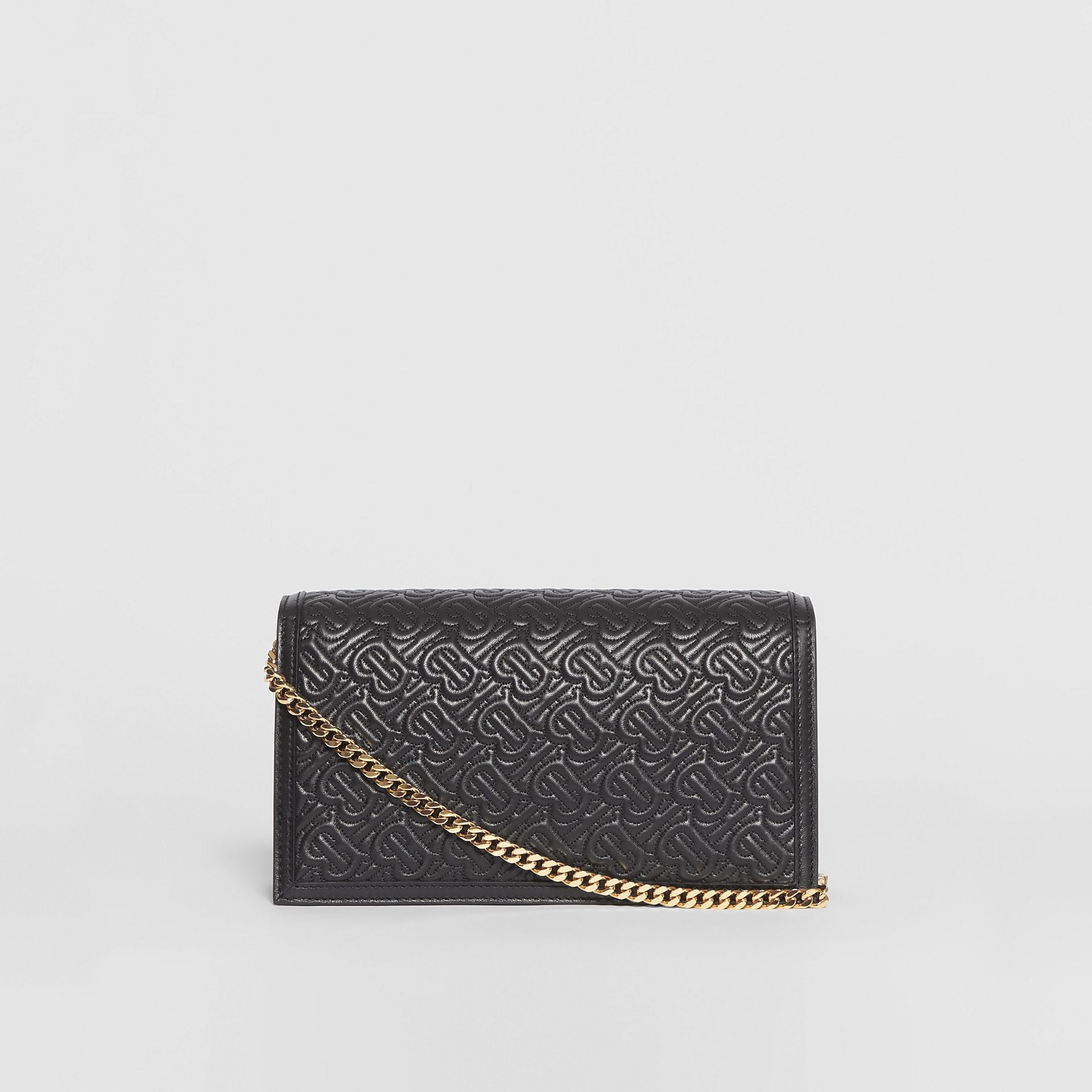 Small Quilted Monogram TB Envelope Clutch in Black - Women | Burberry - gallery image 7