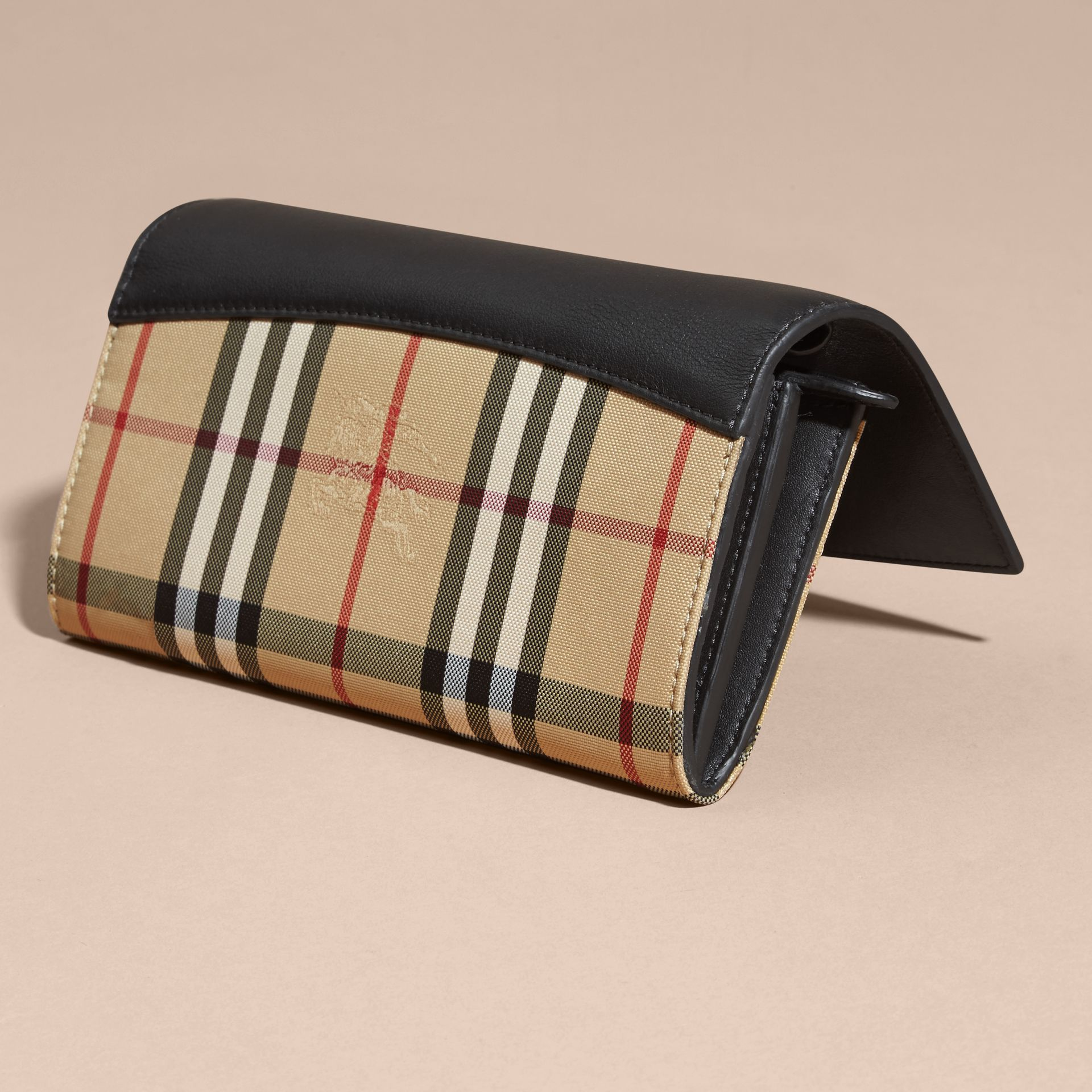 Horseferry Check and Leather Wallet with Chain in Black - Women | Burberry - gallery image 5