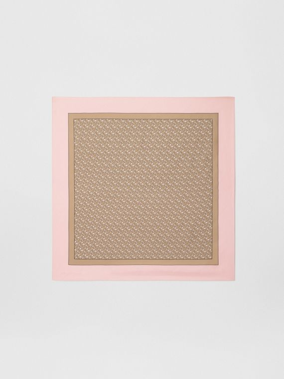 Monogram Print Silk Square Scarf in Pink
