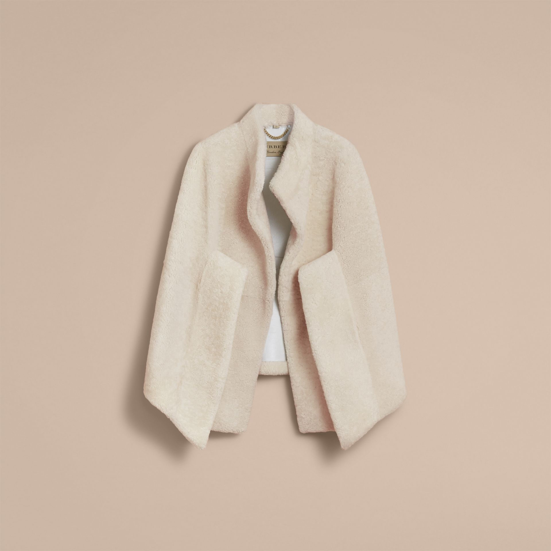 Sculptural Shearling Cape in White - Women | Burberry Canada - gallery image 4