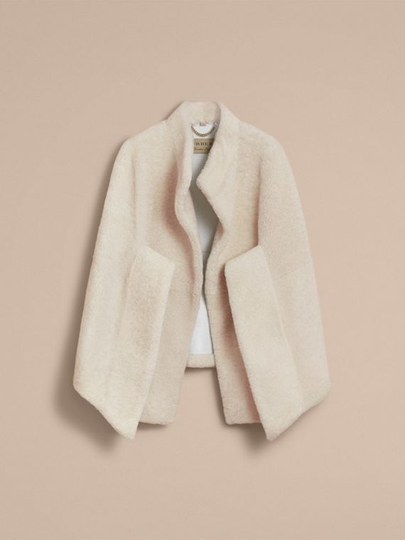 Sculptural Shearling Cape in White - Women | Burberry Canada - cell image 3