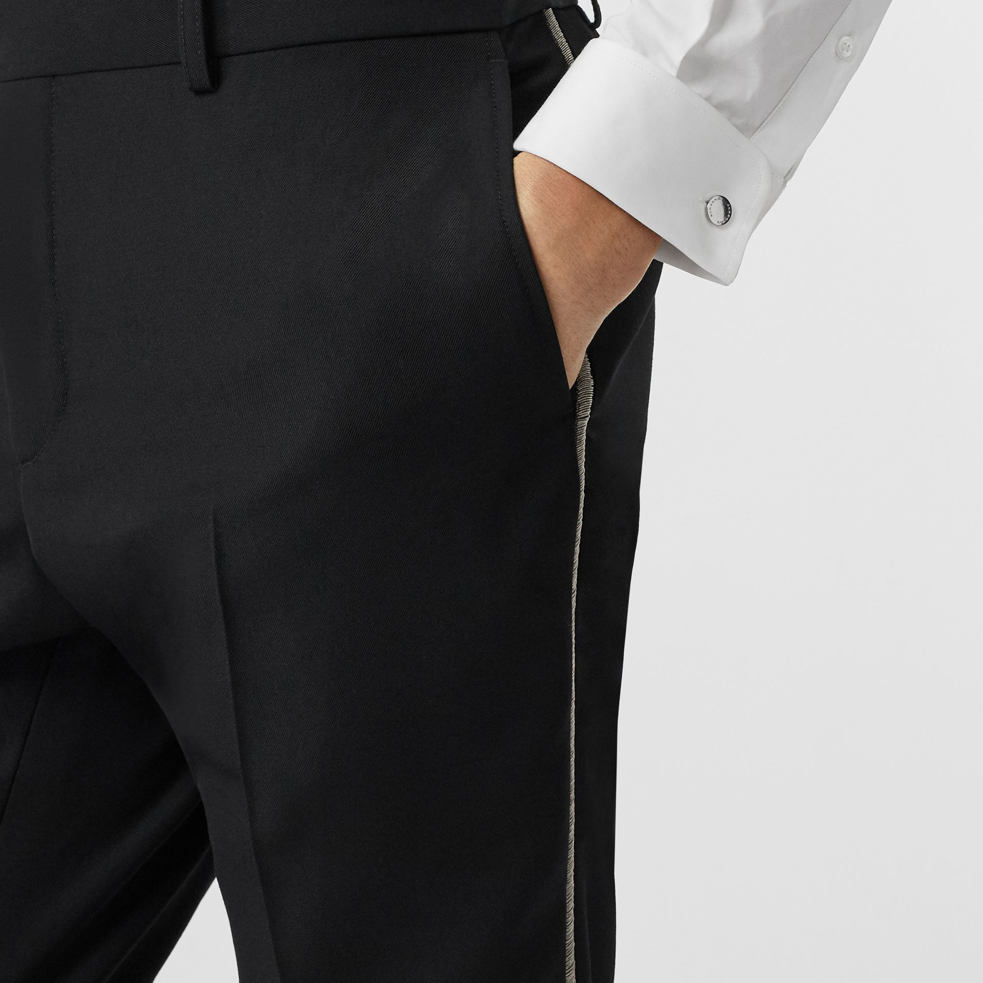Soho Fit Bullion Stripe Wool Twill Tailored Trousers in Black - Men | Burberry United Kingdom - gallery image 1
