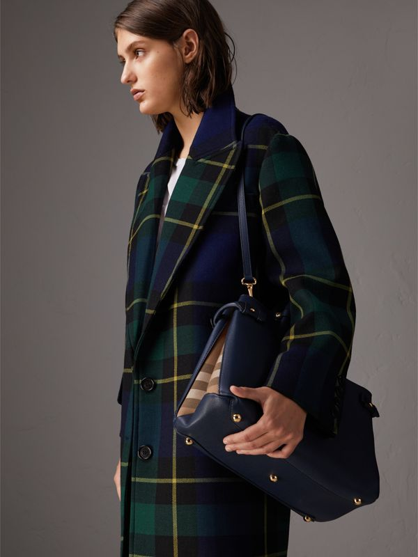 Sac The Banner medium en cuir et coton House check (Bleu Encre) - Femme | Burberry - cell image 3