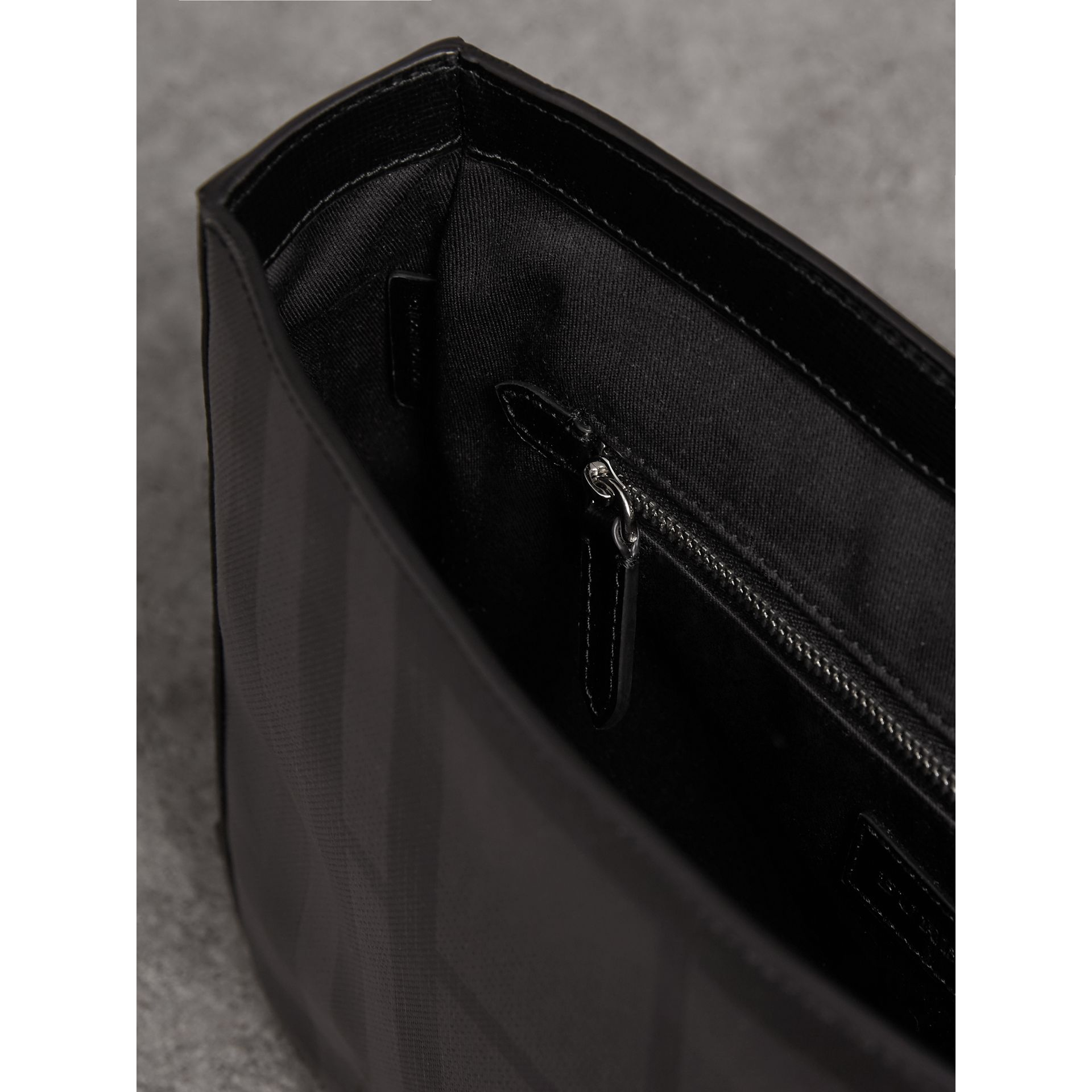 Medium Leather Trim London Check Messenger Bag in Charcoal/black - Men | Burberry United Kingdom - gallery image 4