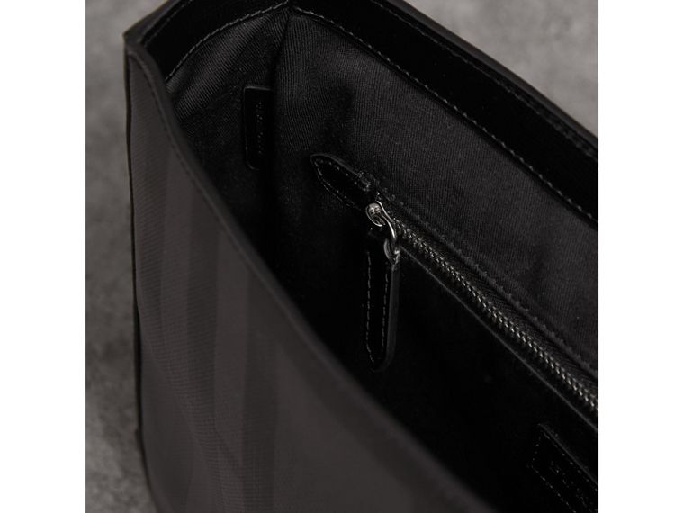 Medium Leather Trim London Check Messenger Bag in Charcoal/black - Men | Burberry United Kingdom - cell image 4