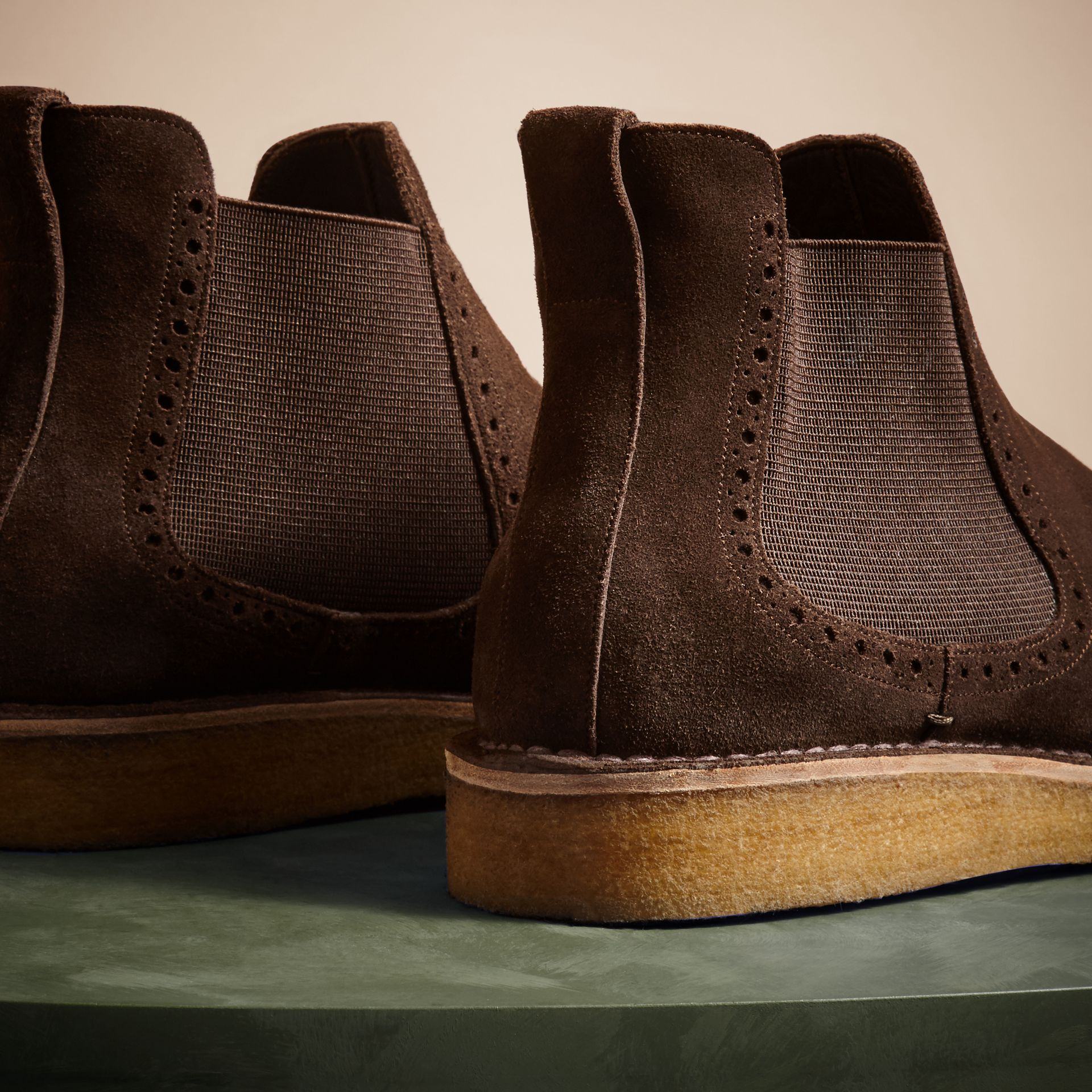 Peat brown Washed-suede Chelsea Boots with Crepe Soles - gallery image 4