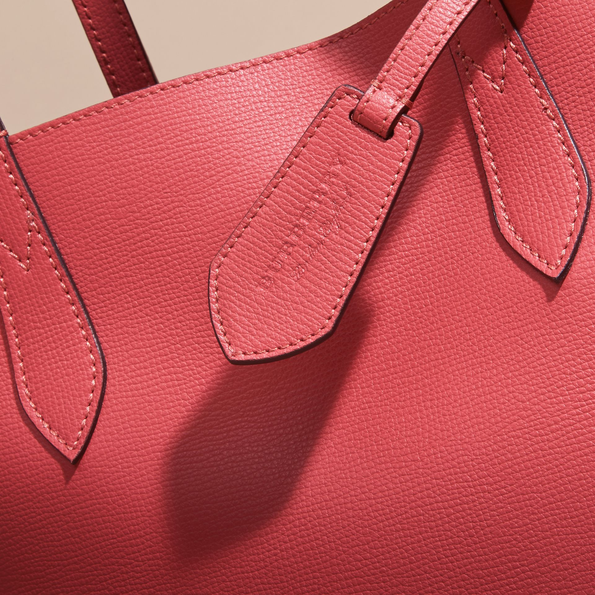 The Small Reversible Tote in Haymarket Check and Leather Coral Red - gallery image 2