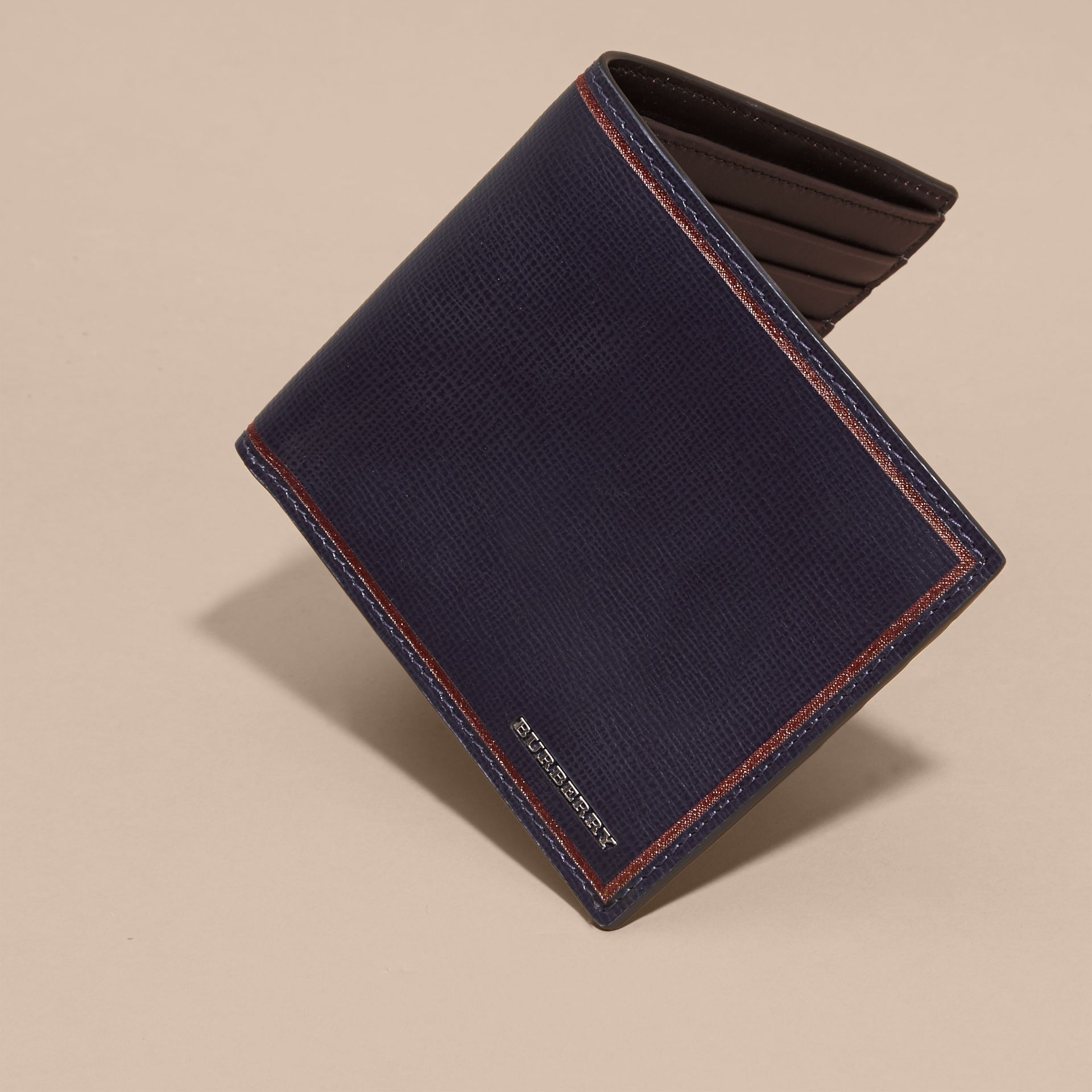 Dark navy Border Detail London Leather Folding Wallet Dark Navy - gallery image 6