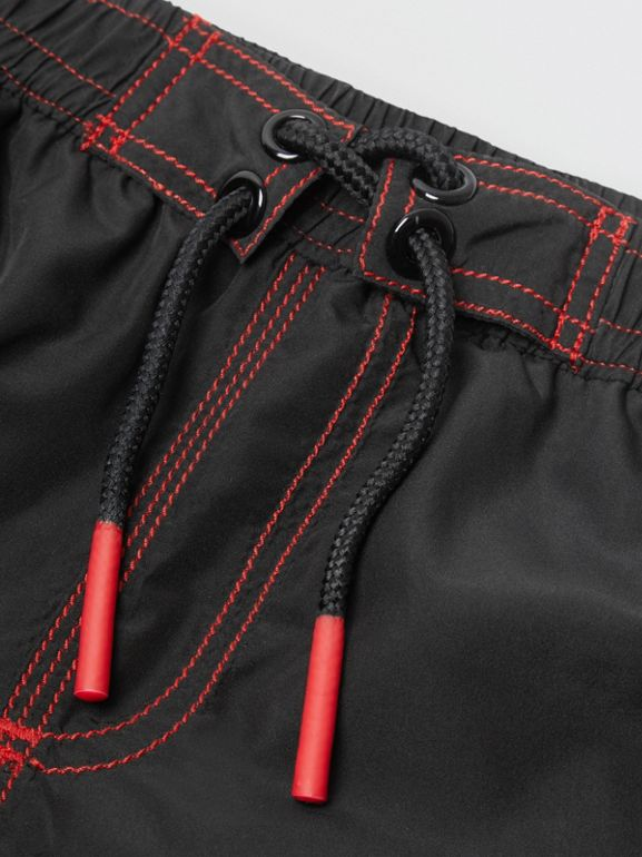 Logo Print Drawcord Swim Shorts in Black | Burberry - cell image 1