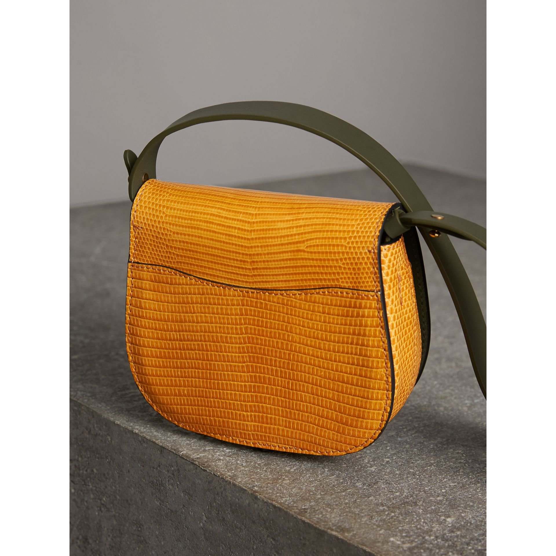 The Satchel in Lizard in Amber Yellow - Women | Burberry - gallery image 4