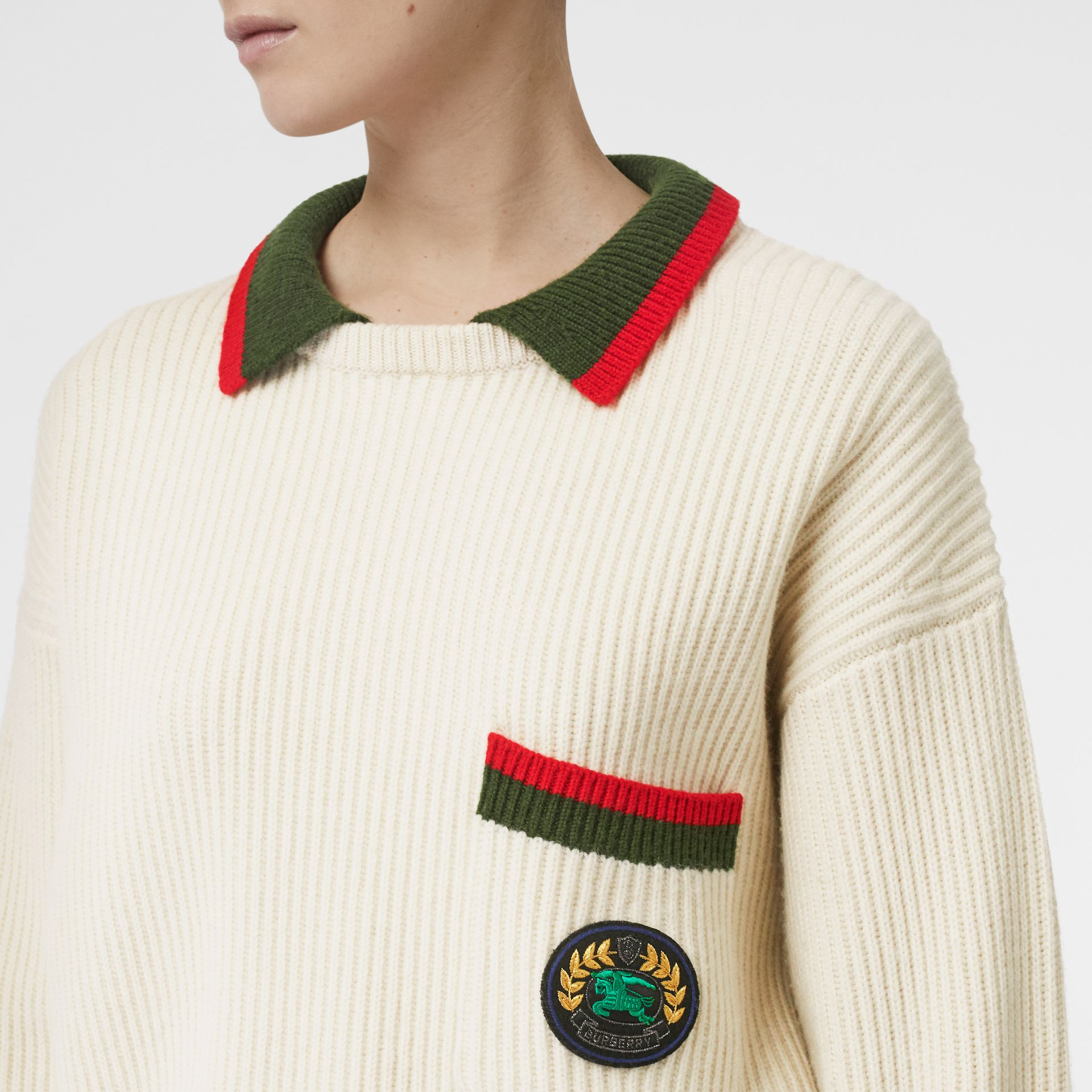 Rib Knit Wool Cashmere Sweater in Ivory - Women | Burberry - gallery image 1