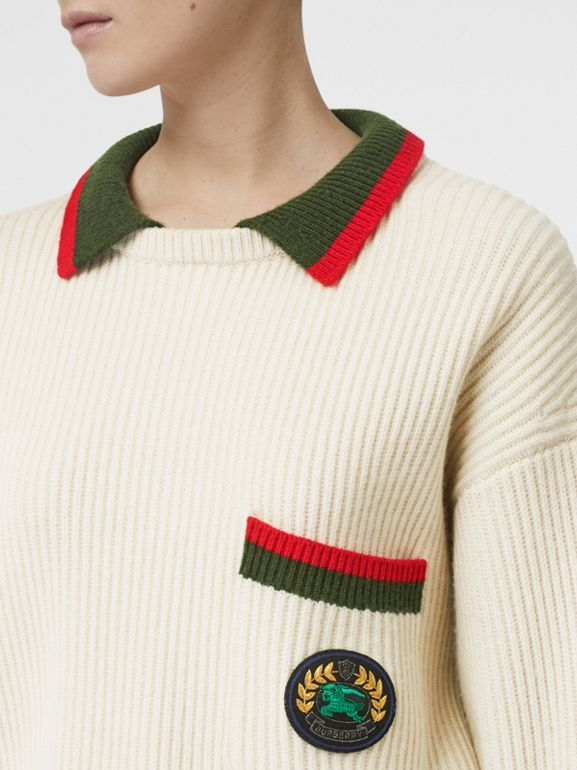 Rib Knit Wool Cashmere Sweater in Ivory - Women | Burberry United States - cell image 1