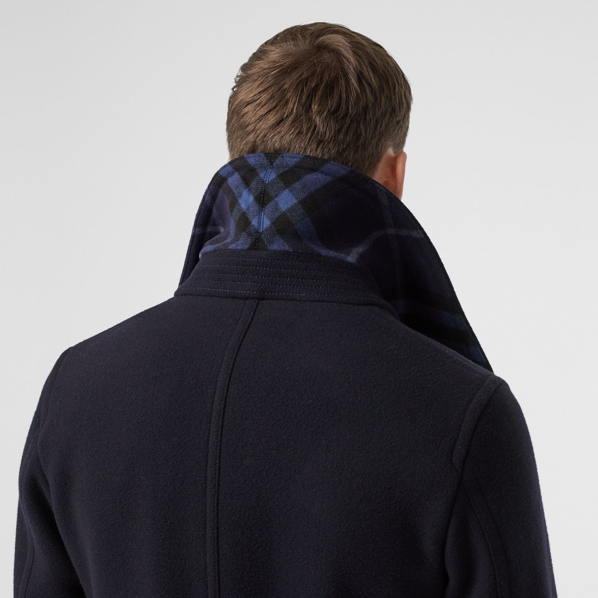 Wool Blend Pea Coat in Navy - Men | Burberry United States - gallery image 1