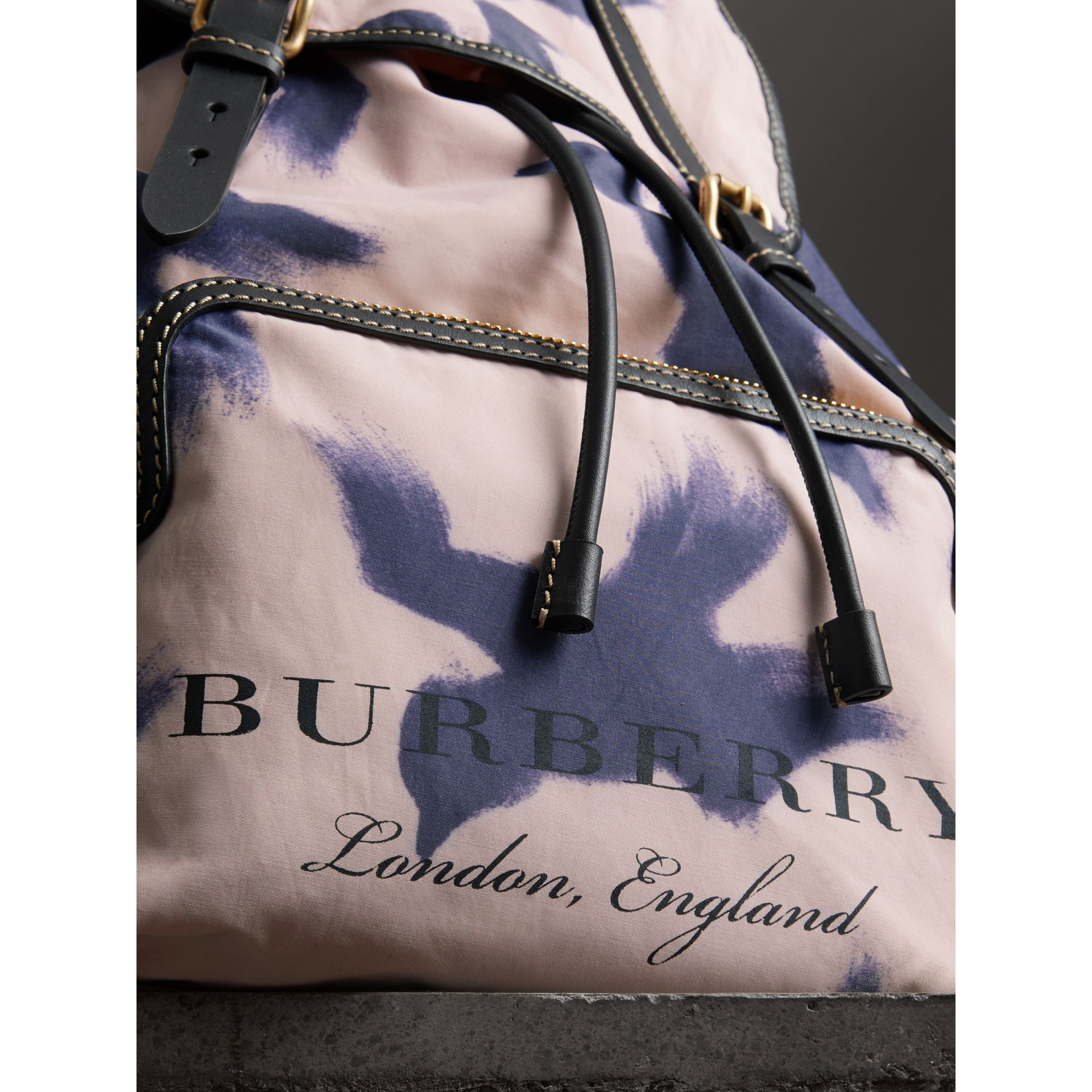 The Large Rucksack in Bird Print Canvas and Leather in Multicolour - Men | Burberry United States - gallery image 1