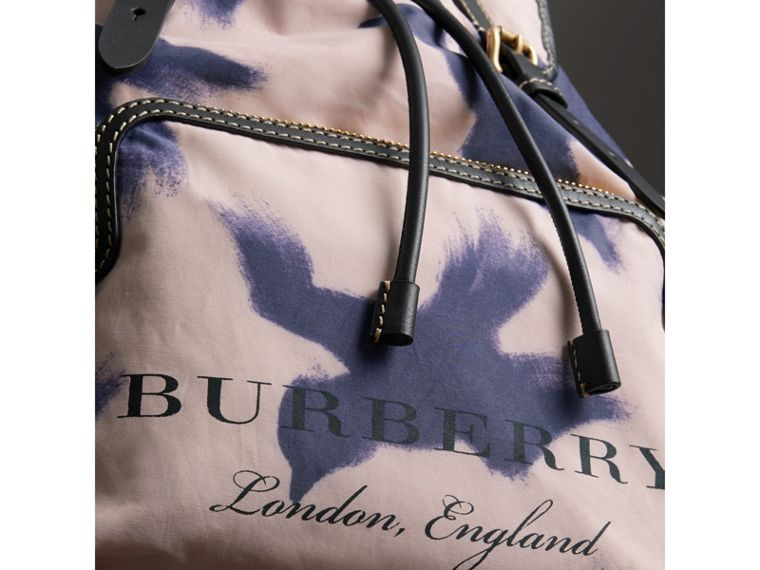 The Large Rucksack in Bird Print Canvas and Leather in Multicolour - Men | Burberry United States - cell image 1