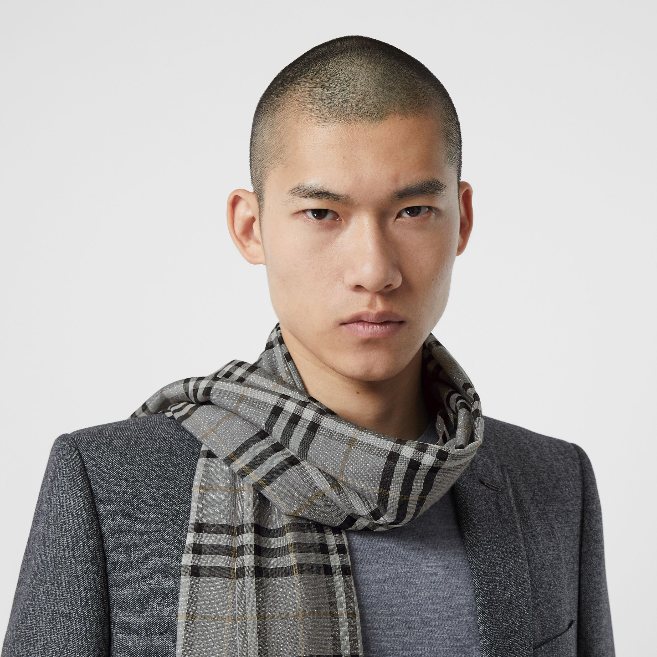 Metallic Vintage Check Wool Silk Blend Scarf in Pewter Grey | Burberry - 4