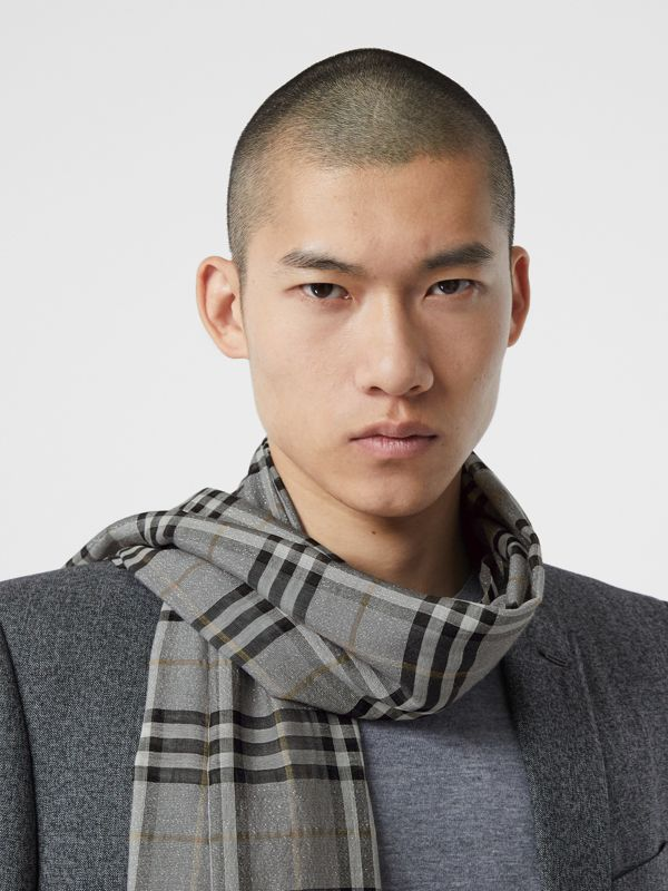 Metallic Vintage Check Wool Silk Blend Scarf in Pewter Grey | Burberry - cell image 3