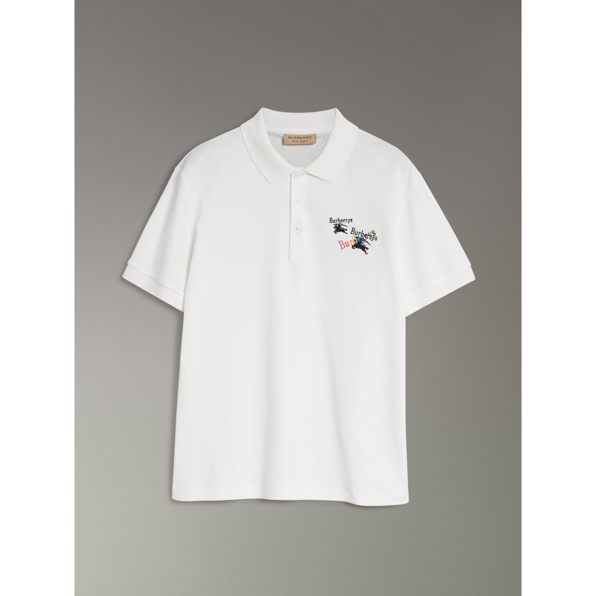 Triple Archive Logo Cotton Piqué Polo Shirt in White - Men | Burberry United Kingdom - gallery image 3