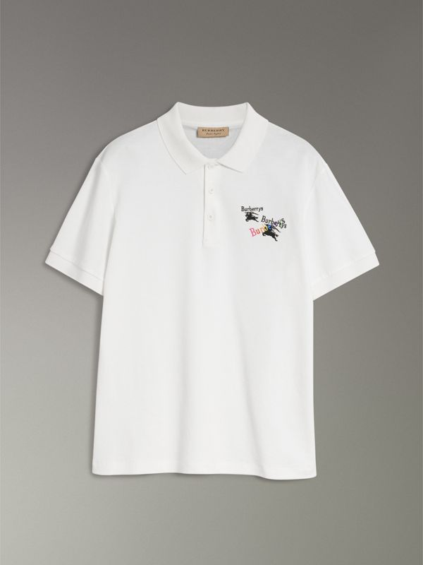 Triple Archive Logo Cotton Piqué Polo Shirt in White - Men | Burberry United Kingdom - cell image 3