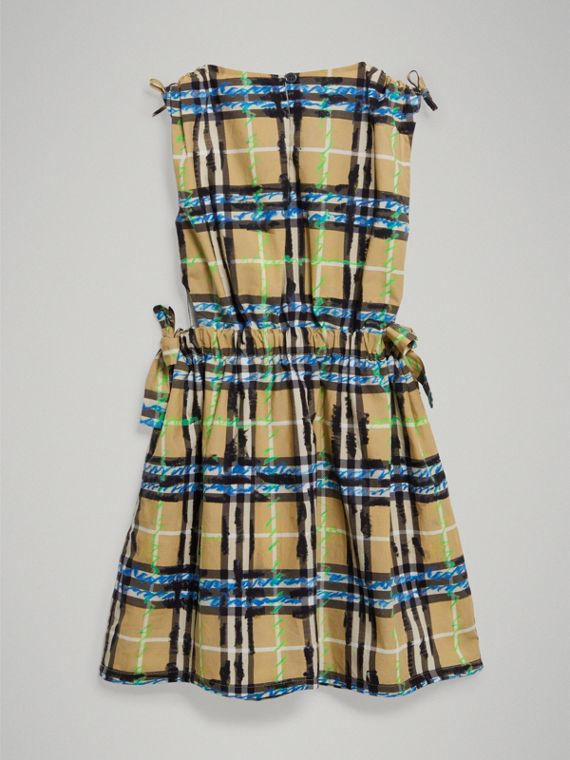 Tie-detail Scribble Check Cotton Dress in Bright Blue - Girl | Burberry United Kingdom - cell image 3
