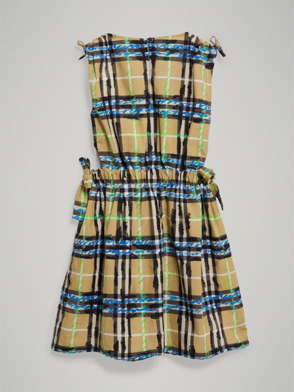 Tie-detail Scribble Check Cotton Dress in Bright Blue - Girl | Burberry - cell image 3