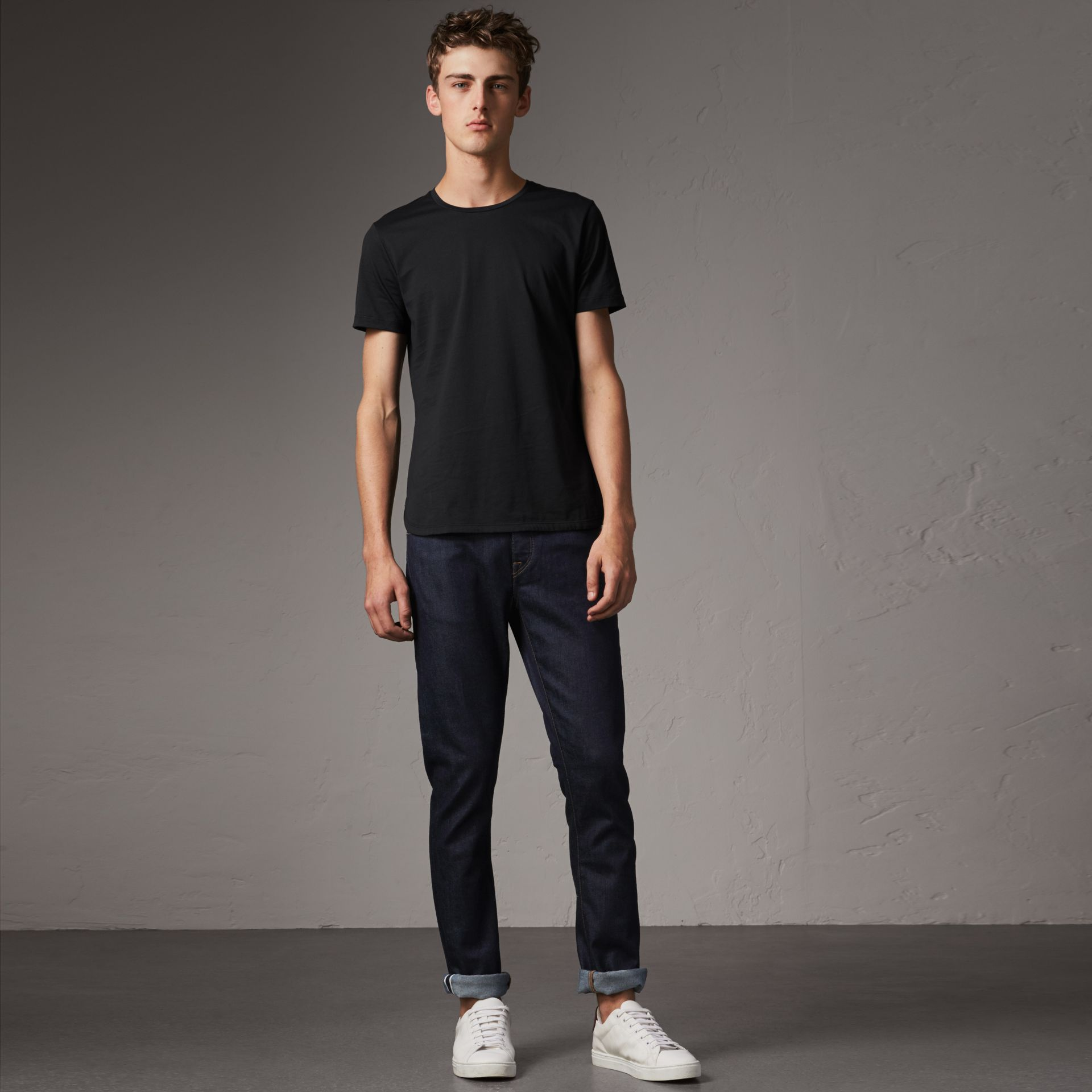 Straight Fit Stretch Japanese Selvedge Denim Jeans in Dark Indigo - Men | Burberry - gallery image 0