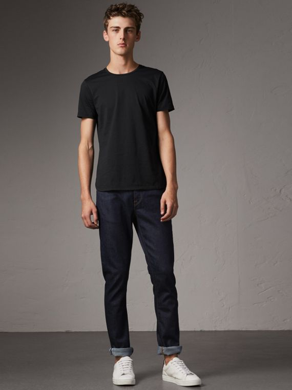 Straight Fit Stretch Japanese Selvedge Denim Jeans in Dark Indigo