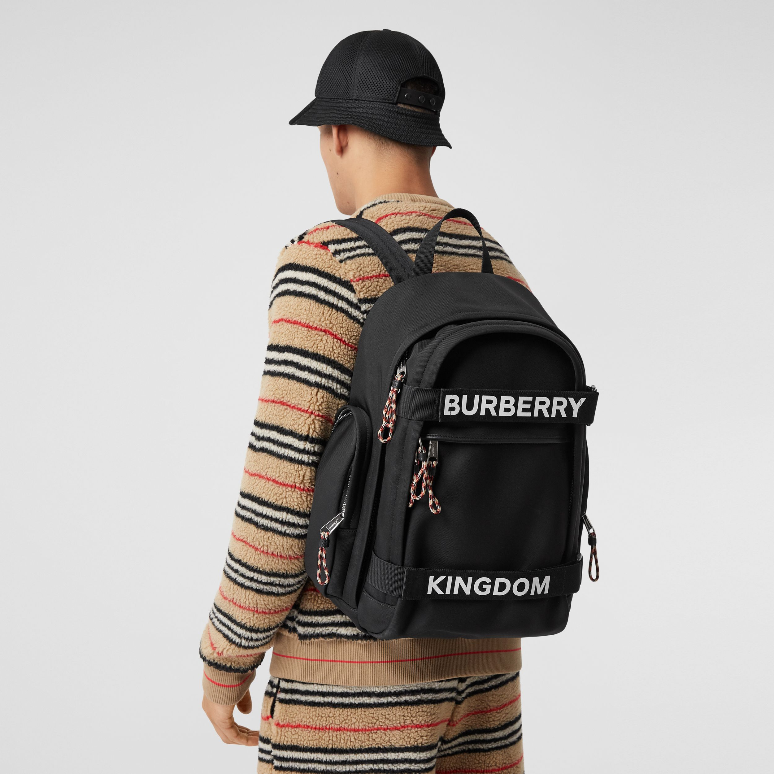 Large Logo and Kingdom Detail Nevis Backpack in Black/white | Burberry - 4