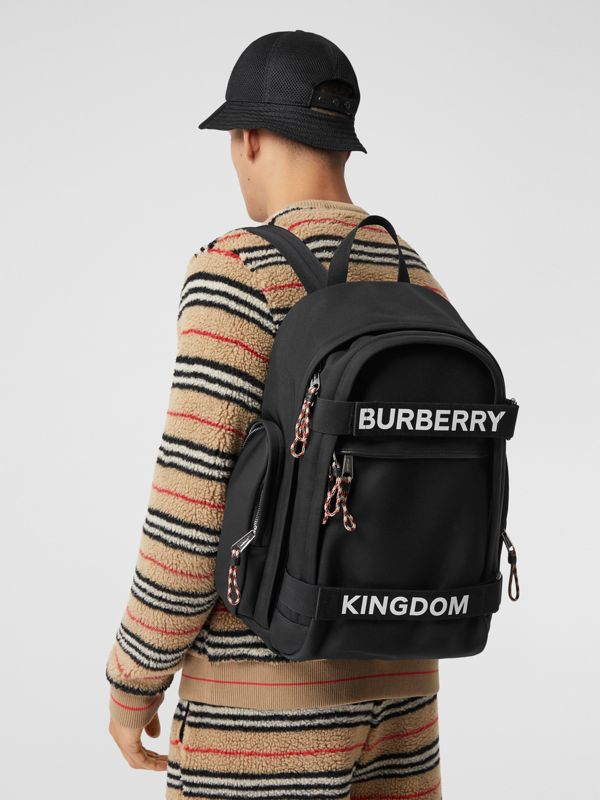 Large Logo and Kingdom Detail Nevis Backpack in Black/white | Burberry Hong Kong S.A.R - cell image 3